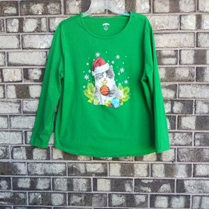 Holiday time women's 2X cat print Christmas tee